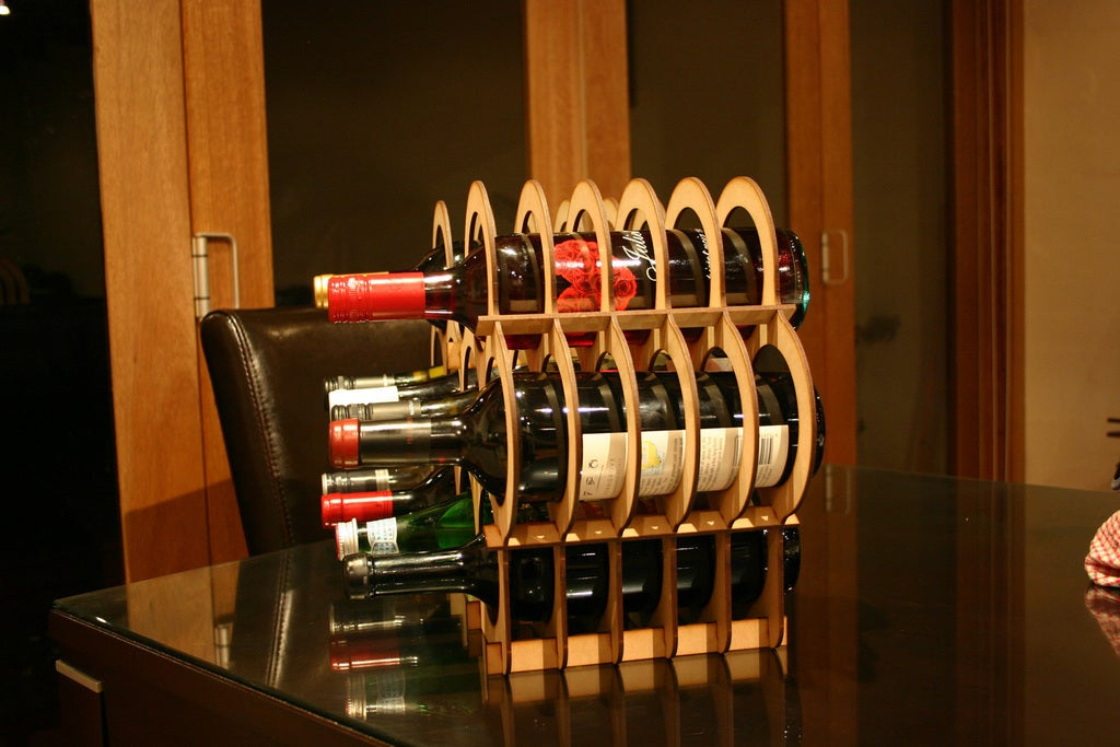 Laser Cut Mini Cellar Small Wine Rack Bottle Holder Storage DXF File