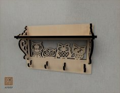 Laser Cut Owl Decor Shelf With Wall Hanger Free Vector