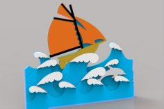 Laser Cut Sailboat Drawing Layered Art Free Vector