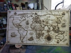 Laser Engraved World Map Free Vector