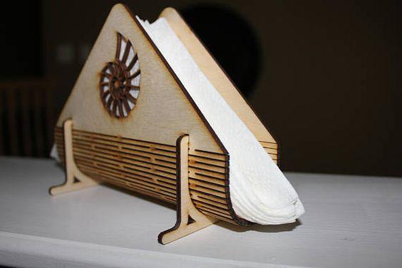 Laser Cut Decorative Wooden Napkin Holder Free Vector