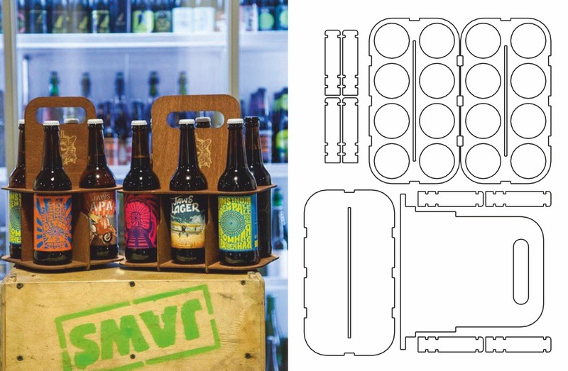 Laser Cut Beer Carrier 8 Bottles Template Free Vector