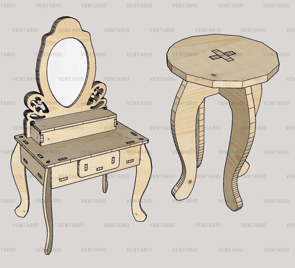 Laser Cut Dressing Table with Stool Kit Free Vector