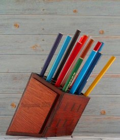 Laser Cut Pencil Holder Organizer Free Vector