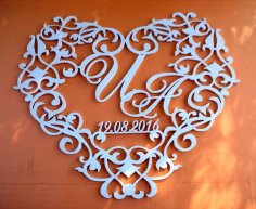 Laser Cut Wedding Heart Shape Frame Tempalte Free Vector