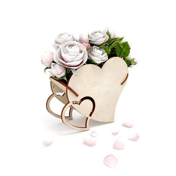 Laser Cut Heart Shaped Flower Basket Template Free Vector