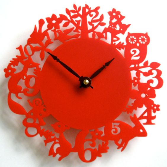 Laser Cut Acrylic Clock Forest Theme Free Vector