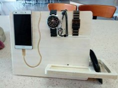 Laser Cut Night Stand Charging Station Bedside Organizer Gift For Men DXF File