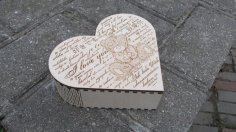 Laser Cut Heart Gift Box with Hinge Free Vector