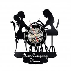 Personalised Nail Art Nail Salon Vinyl Wall Clock Laser Cut Template Free Vector