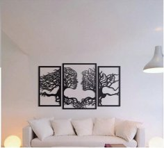 Laser Cut Wall Art Tree Couple Face Shape Free Vector