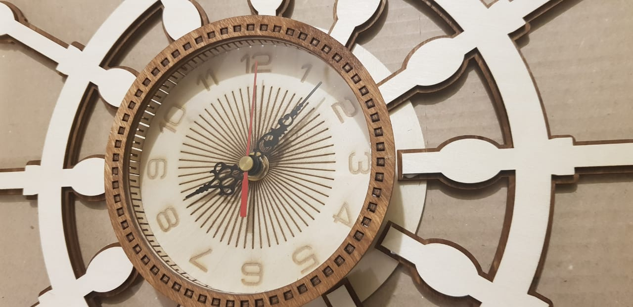 Laser Cut Ships Helm Wall Clock Free Vector