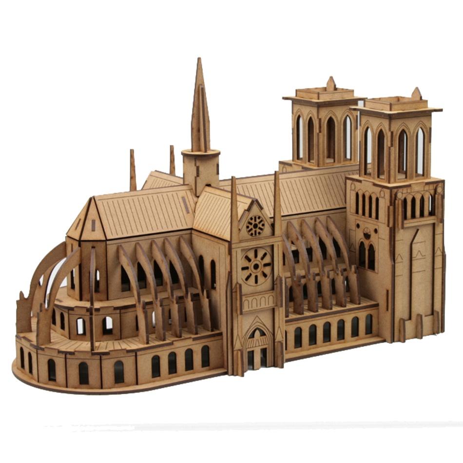 Laser Cut Notre Dame Cathedral 3D Puzzle PDF File