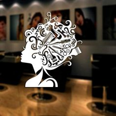 Laser Engrave Ladies Hair Salon Sticker Barbershop Girl Poster Free Vector