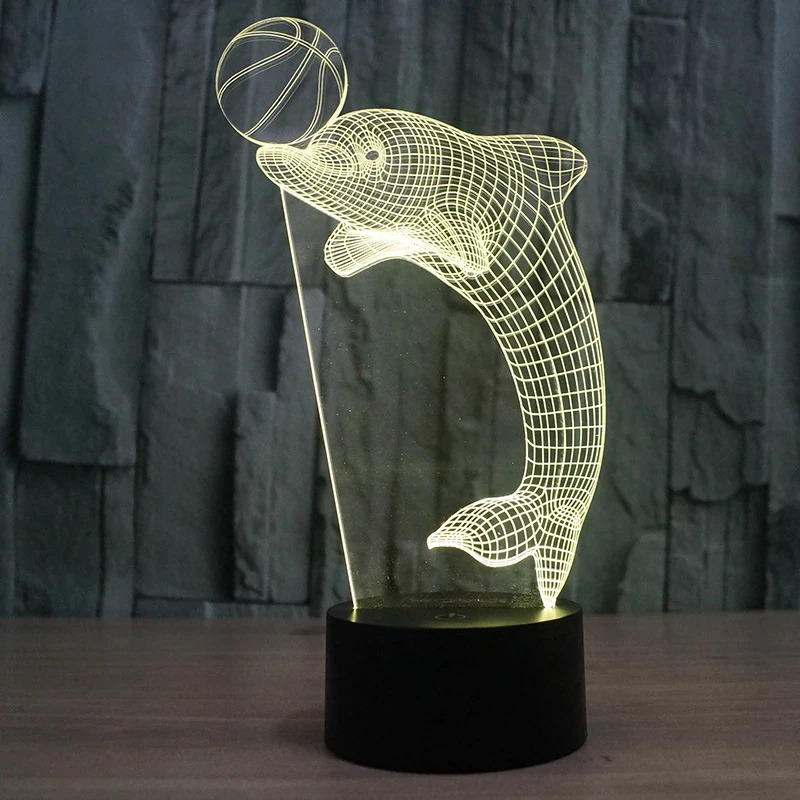 Laser Cut Dolphin 3D Nightlight LED Deco Lamp PDF File