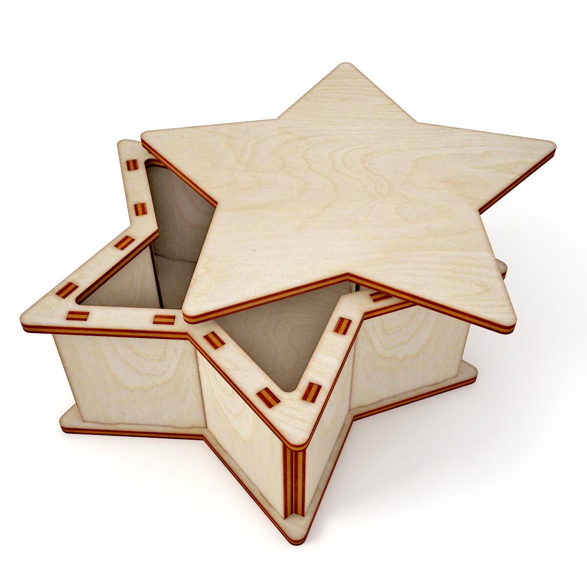 Laser Cut Wooden Star Gift Box Free Vector