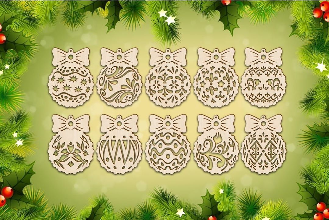 Laser Cut Wood Christmas Ornaments And Decorations Free Vector
