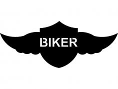 Winged shield Biker dxf File