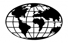 World Map Globe dxf File