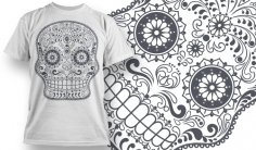 Sugar Skull T-Shirt Design Free Vector