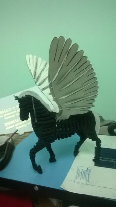 Winged Horse 3D Puzzle Free Vector