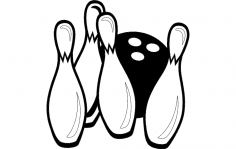 Bowling Pins and Ball Game dxf File