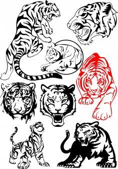 Big Tiger Vectors Pack Free Vector