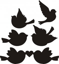 Love Birds Silhouette Vectors