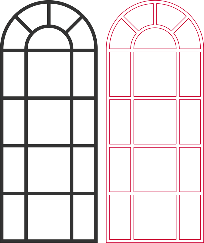 Arched Window vector dxf File