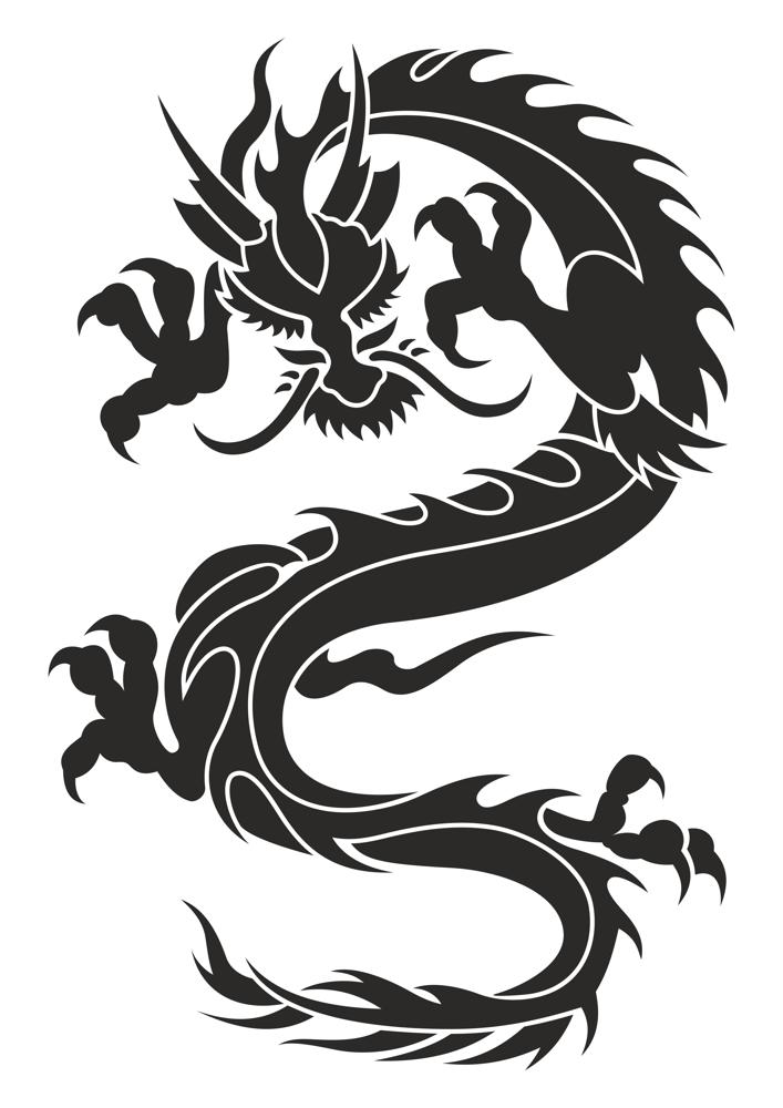 Chinese Dragon Silhouette Tattoo Tribal Vector Free Vector