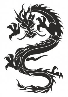 Chinese Dragon Silhouette Tattoo Tribal Vector CDR File