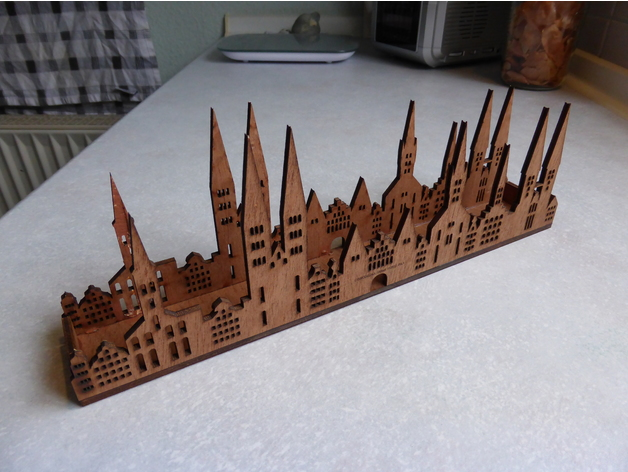 Skyline from Lübeck as Tealight dxf File
