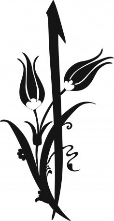 Black And White Flower Clipart Vector jpg Image