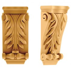 Medium Gothic Corbel Wood Carvin stl File