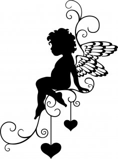 Angel Wall Sticker Vector Free Vector