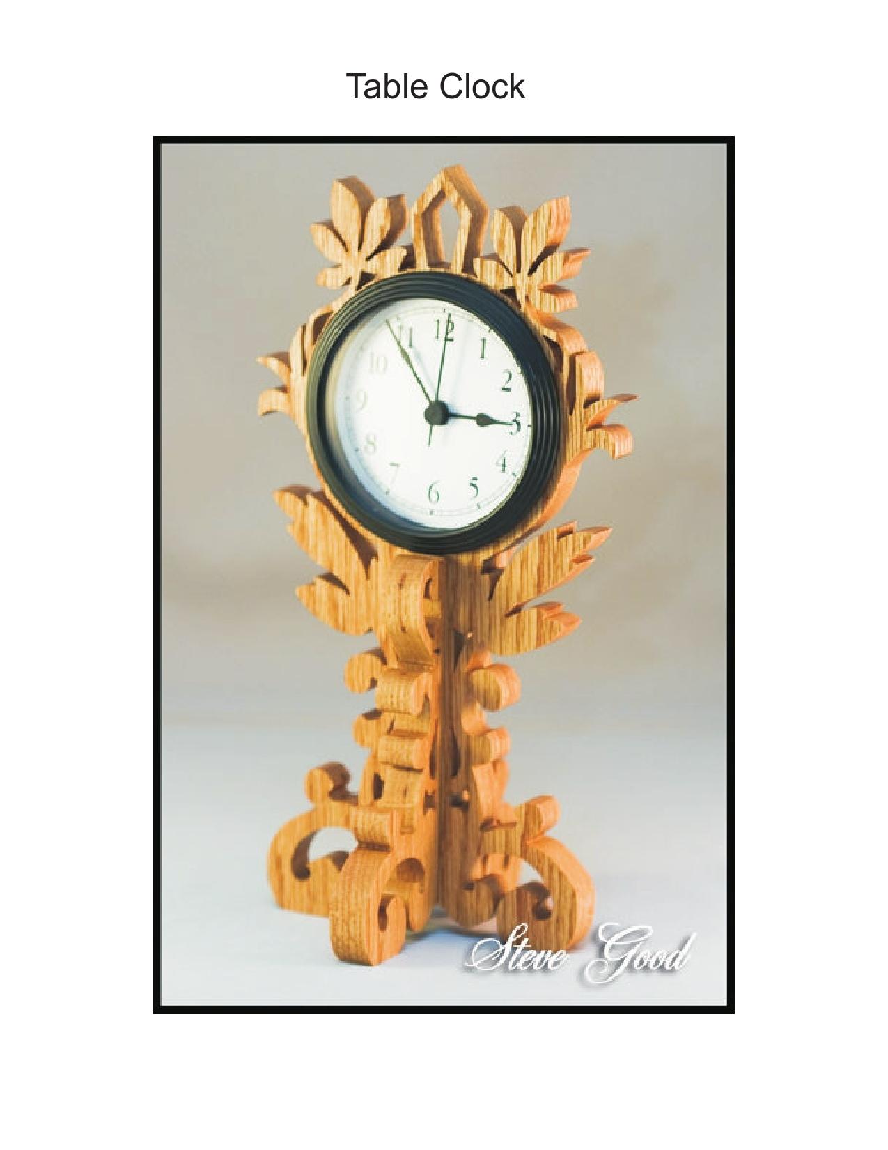 Table Clock Scroll Saw Pattern PDF File