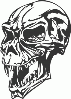 Angry skull DXF File