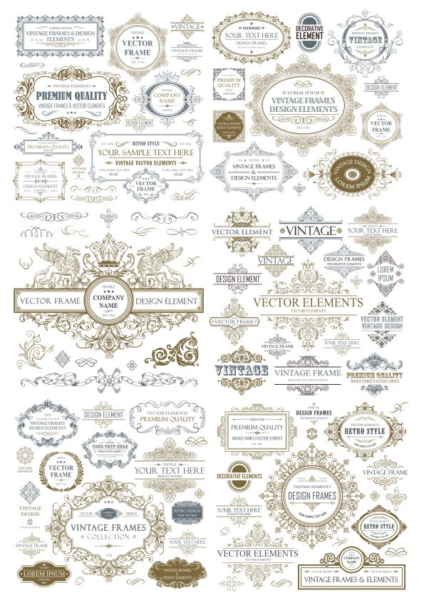 Vintage Seamless Collection Free Vector