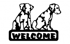 Puppies Welcome Sign dxf File