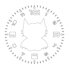 Clock Hello Bat dxf File