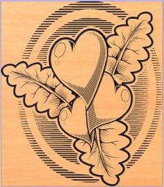 сердечки листочки DXF File