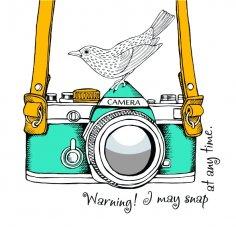 Abstract Camera Bird Art Vector