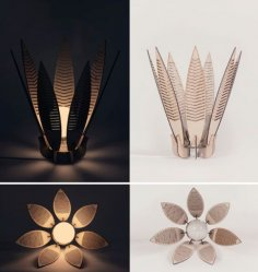 Decorative Flower Lamp Shade Laser Cut Free Vector