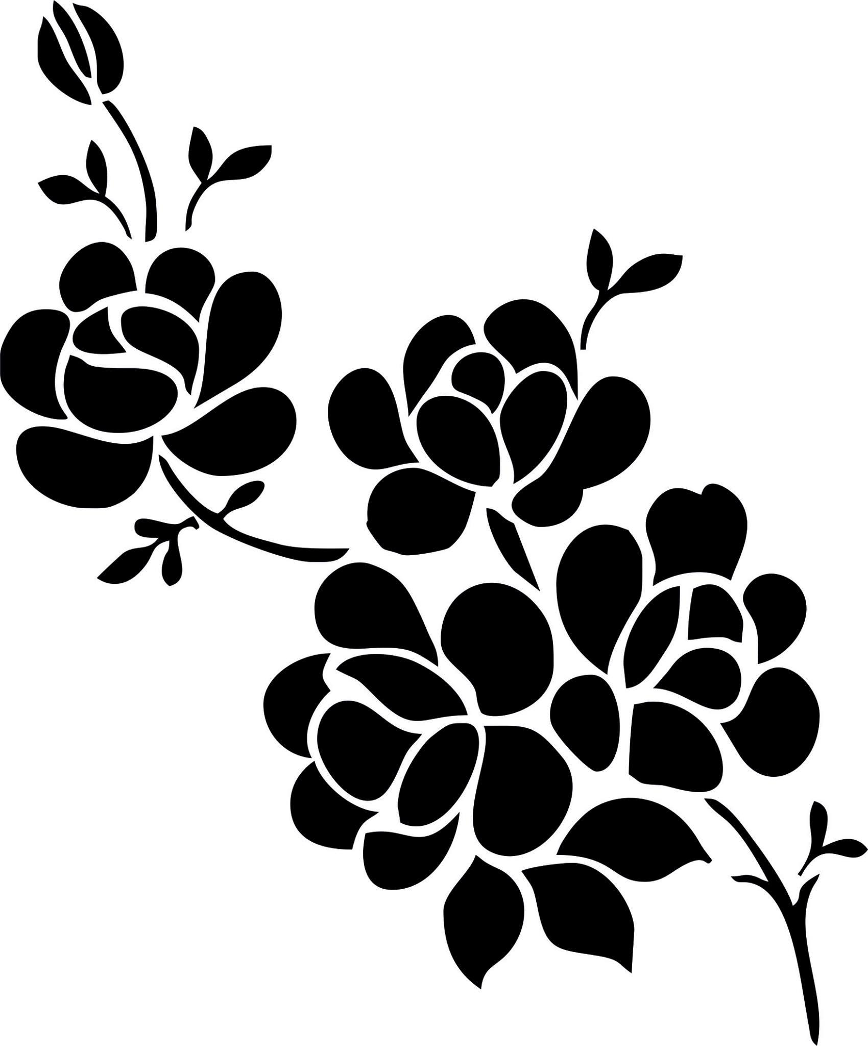 Elegant Black And White Flower Vector Art jpg Image