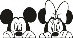 Mickey and Minnie mouse slihouette vector Free Vector