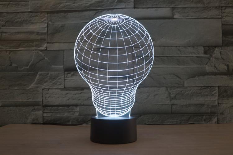 Light Bulb 3D LED Illusion Night Light Lamp