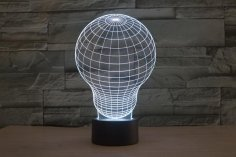 Light Bulb 3D LED Illusion Night Light Lamp CDR File