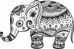 Retro Floral Elephant CDR File