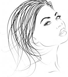 Beautiful woman outline Vector Clip Art