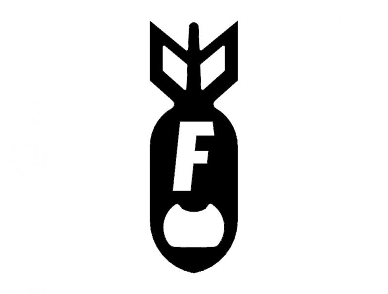 F Bomb Bottel Opener 1.75 X 5.0 dxf File
